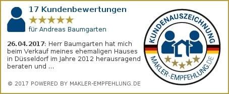 Qualitätssiegel makler-empfehlung.de für Andreas Baumgarten
